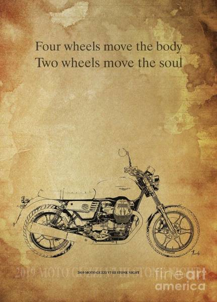 Wall Art - Drawing - 2019 Moto Guzzi V85 Tt, Original Artwork. Motorcycle Quote2019 Moto Guzzi V7 IIi Stone Night by Drawspots Illustrations