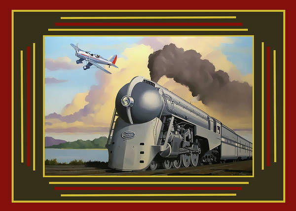 Digital Art - 20th Century Limited With Border by Chuck Staley