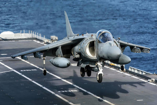 Wall Art - Photograph - An Av-8b+ Harrier II Jet Aboard by Daniele Faccioli