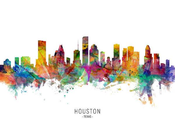 Wall Art - Digital Art - Houston Texas Skyline by Michael Tompsett