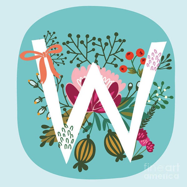 Wall Art - Digital Art - Vector Hand Drawn Floral Monogram With by Marushabelle