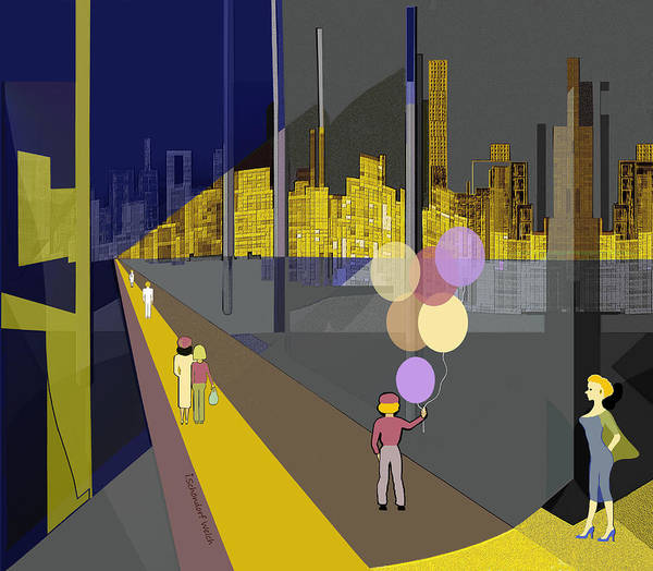 Wall Art - Digital Art - 2502 A Walk To The Golden City A  by Irmgard Schoendorf Welch
