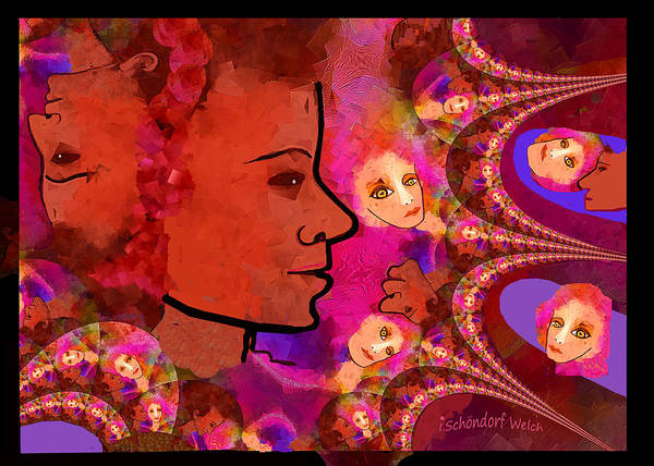 Wall Art - Digital Art - 2550 B - All The Ladies Fractal by Irmgard Schoendorf Welch