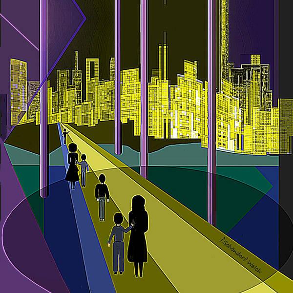 Wall Art - Digital Art -  286   Nightwalking To The Golden City   by Irmgard Schoendorf Welch