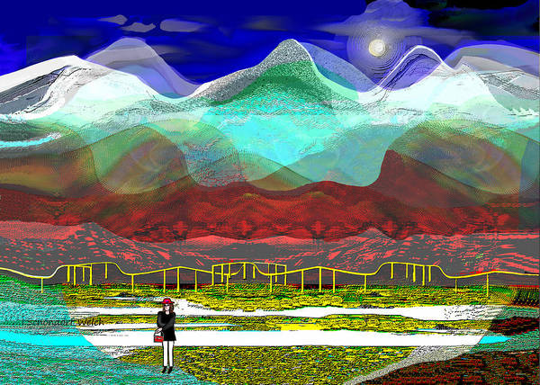 Wall Art - Digital Art - 2940 A - Landscape With Fence by Irmgard Schoendorf Welch
