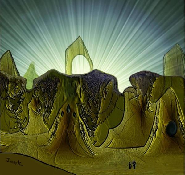 Strange Land Wall Art - Digital Art - 2951  Mountain  Land by Irmgard Schoendorf Welch