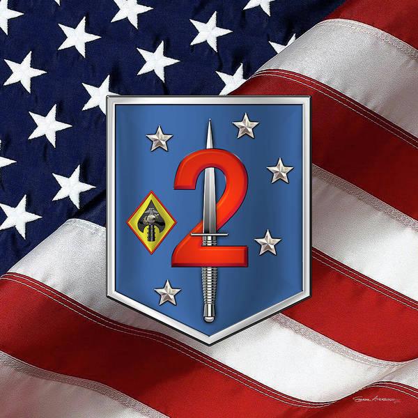 Digital Art - 2d Marine Raider Support Battalion  -  2d  M R S B  Patch Over American Flag by Serge Averbukh