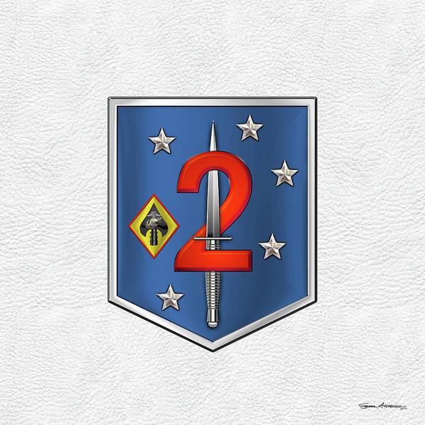 Digital Art - 2d Marine Raider Support Battalion  -  2d  M R S B  Patch White Leather by Serge Averbukh
