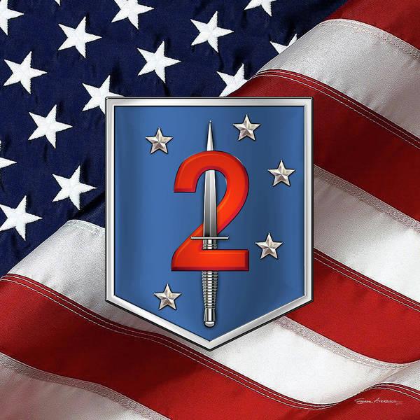 Digital Art - 2nd Marine Raider Battalion - 2nd Marine Special Operations Battalion M S O B  Patch Over Flag by Serge Averbukh