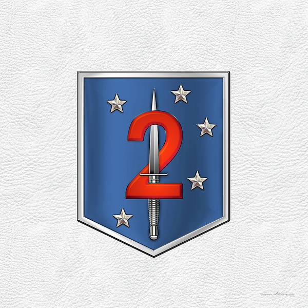 Digital Art - 2nd Marine Raider Battalion - 2nd Marine Special Operations Battalion M S O B  Patch White Leather by Serge Averbukh