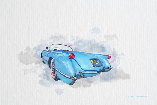 1955 Chevy Digital Art - 1955 Corvette by RT Bozarth
