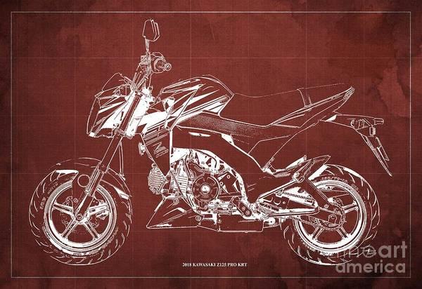 Wall Art - Digital Art - 2018 Kawasaki Z125 Pro Krt Blueprint Original Artwork by Drawspots Illustrations