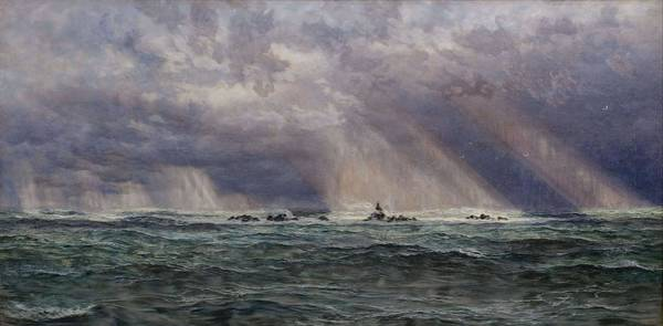 Wall Art - Painting - A North-west Gale Off The Longships Lighthouse by John Brett