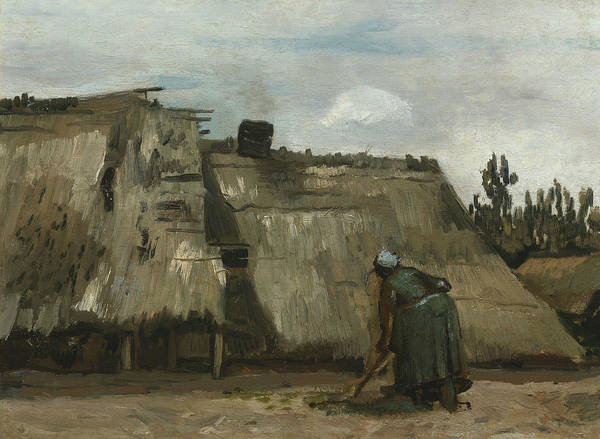 Wall Art - Painting - A Peasant Woman Digging In Front Of Her Cottage by Vincent van Gogh