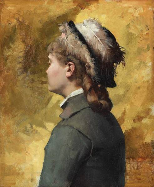 Wall Art - Painting - Albert Edelfelt,   Young Woman In Grey by Albert Edelfelt