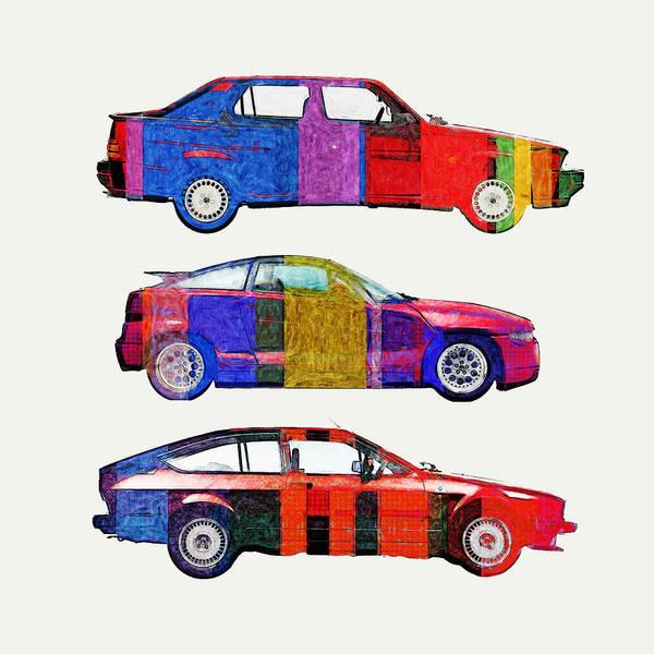 Alfa Romeo Painting - 3 Alfa Romeo 80s Pop Colors by Aaaah Eeeek Studio