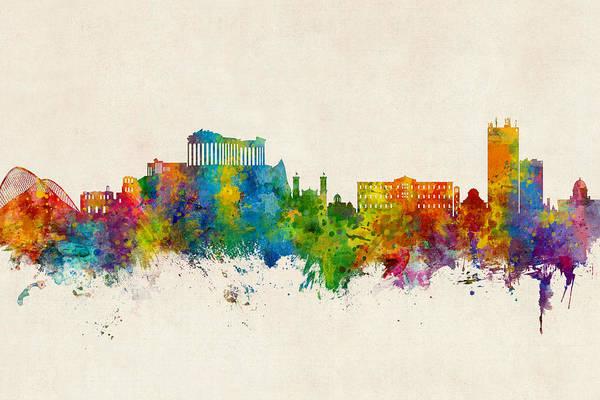 Athens Wall Art - Digital Art - Athens Greece Skyline by Michael Tompsett