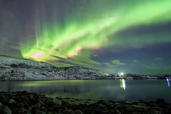 Photograph - Aurora Borealis Dances Above The Arctic by Jeff Dai