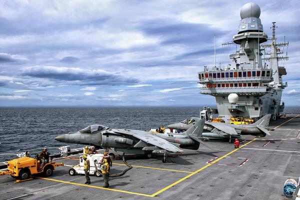 Wall Art - Photograph - Av-8b+ Harrier II Jets Aboard by Daniele Faccioli