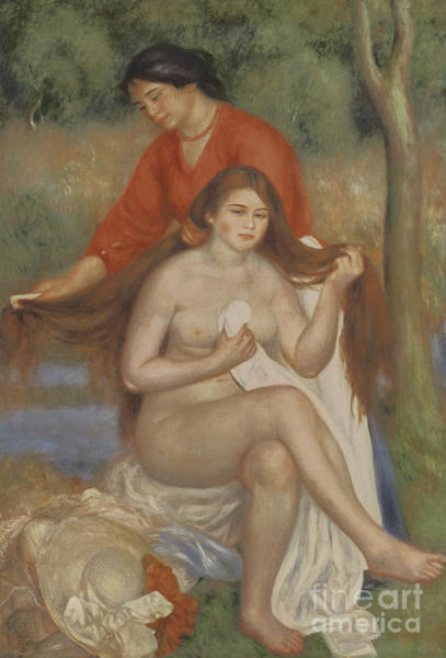 Wall Art - Painting - Bather And Maid by Pierre Auguste Renoir