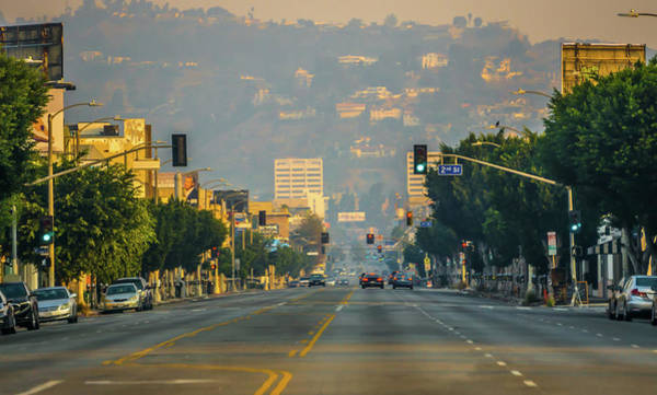 Photograph - Beverly Hills And Hollywood Hills At Sunset During Woosley Fires by Alex Grichenko