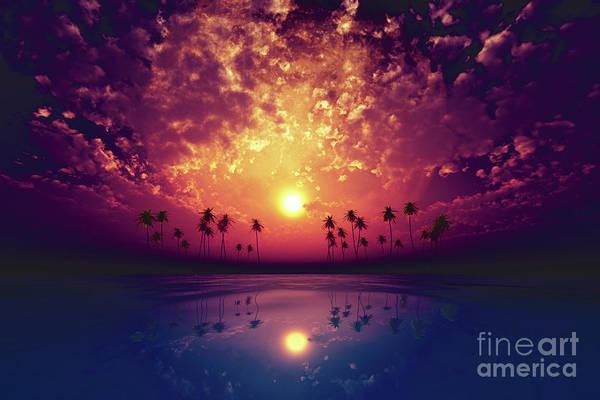 Wall Art - Photograph - Big Moon Over Purple Sunset by Aleksey Tugolukov