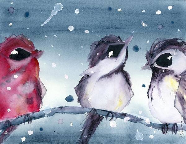 Painting - 3 Birds In The Snow by Dawn Derman