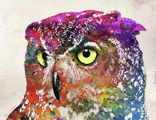 Vector Illustration Painting - Owl Head by Mark Ashkenazi