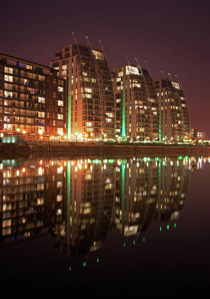 Manchester Skyline Wall Art - Photograph - 3 Blocks Of Flats-salford Quays by Chris Conway