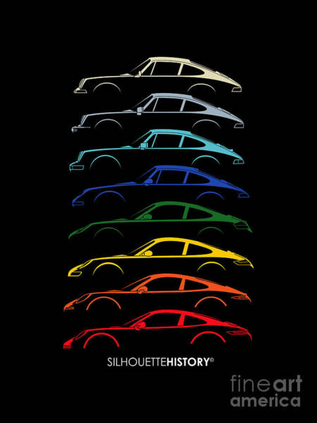 Wall Art - Digital Art - Boxer Sports Car Silhouettehistory by Gabor Vida