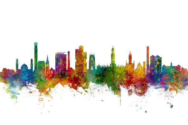 Wall Art - Digital Art - Bradford England Skyline by Michael Tompsett