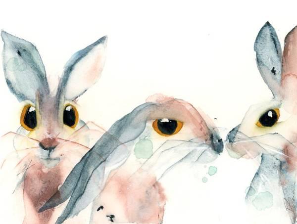 Painting - 3 Bunnies by Dawn Derman