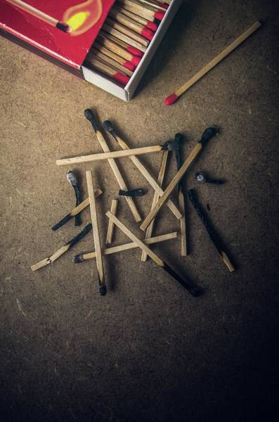 Flammable Photograph - Burnt Matches by Carlos Caetano