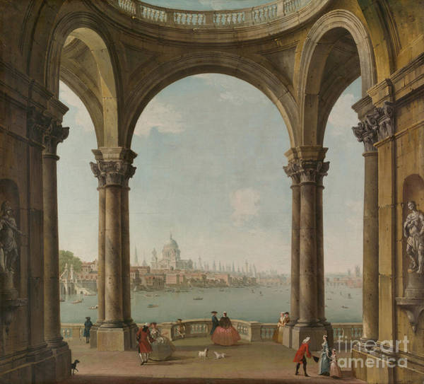 Wall Art - Painting - Capriccio With St. Pauls And Old London Bridge by Antonio Joli