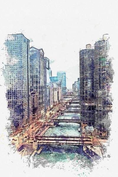 Lake District Painting - Chicago Downtown Watercolor By Ahmet Asar by Ahmet Asar