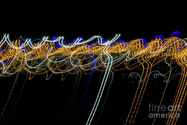 Colorful Light Painting With Circular Shapes And Abstract Black Background. Art Print