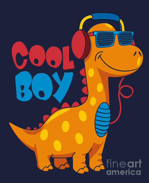 Wall Art - Digital Art - Cool Dinosaur Character Design by Braingraph