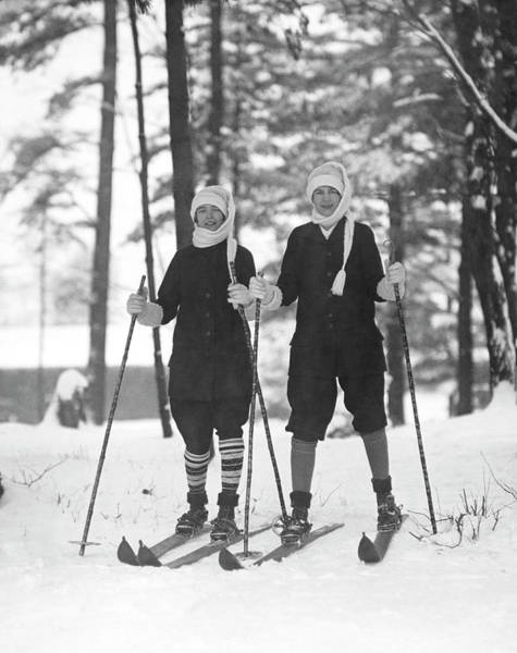 Alpine Skiing Photograph - Cross Country Skiing by Underwood Archives