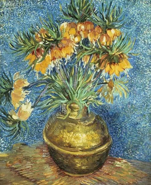 Crown Imperial Painting - Crown Imperial Fritillaries In A Copper Vase  by Vincent van Gogh