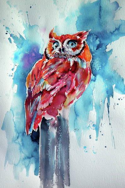 Wall Art - Painting - Cute Owl by Kovacs Anna Brigitta