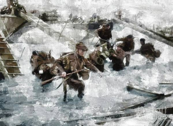 Dday Wall Art - Painting - D Day Landings, Wwii by Mary Bassett
