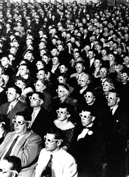 Glass Photograph - 3-d Movie Viewers. Formally-attired Audi by J. R. Eyerman