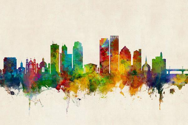 Digital Art - Dayton Ohio Skyline by Michael Tompsett