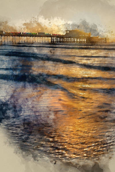Wall Art - Photograph - Digital Watercolor Painting Of Beautiful Vibrant Sunrise Landsca by Matthew Gibson