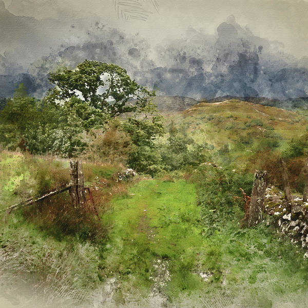 Barmouth Photograph - Digital Watercolor Painting Of Landscape Image Of View From Prec by Matthew Gibson