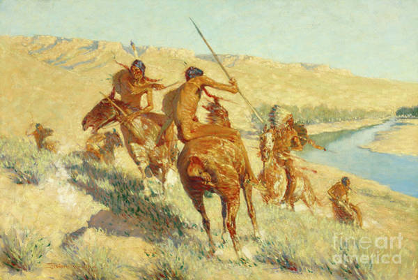 Wall Art - Painting - Episode Of The Buffalo Gun by Frederic Remington
