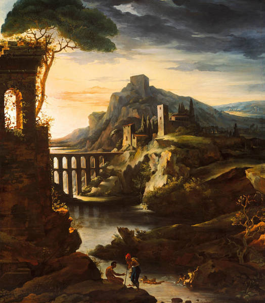 Wall Art - Painting - Evening - Landscape With An Aqueduct by Theodore Gericault