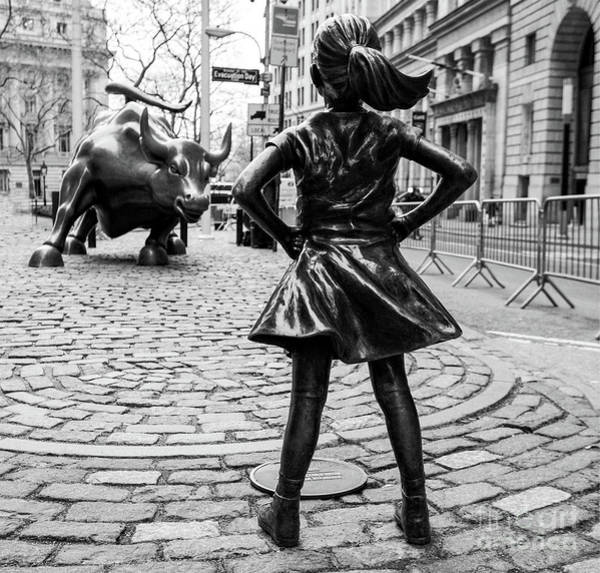 Photograph - Fearless Girl And Wall Street Bull Statue - New York by Doc Braham