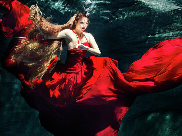 Red Dress Photograph - Female Dancer Performing Under Water by Henrik Sorensen