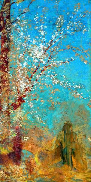 Wall Art - Painting - Figure Under A Blossoming Tree - Digital Remastered Edition by Odilon Redon